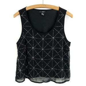 Forever 21 Black Silver Beaded Dressy Tank Top